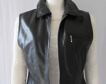 SAGUARO Womens Black Soft Leather Lamb skin Vest Size Large lined