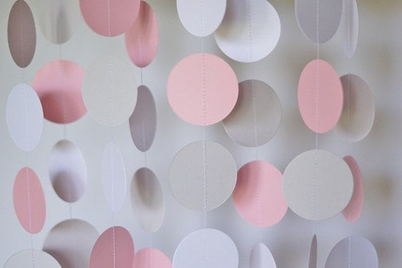 Pink, Gray & White Circle Paper Garland, Wedding Decor, Birthday Party, Baby Shower, Baby's First Birthday, 10 feet long