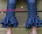 Little Lady's Denim Diva double ruffle knit leggings newborn-8