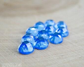 6mm CHECKER faceted royal blue quartz cabochon. blue topaz, swiss blue, translucent blue faceted cab