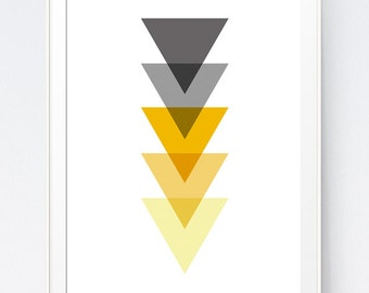 Shadows of Grey and Yellow Abstract Print, Mustard and Gray Minimalist Art, Gold and Grey Wall Art, Home Wall Art Triangle, INSTANT DOWNLOAD