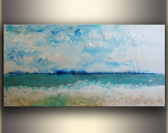 Abstract Seascape Painting Original Abstract Painting Blue Acrylic Painting on Canvas Abstract Art Original Painting Original Art Home Decor