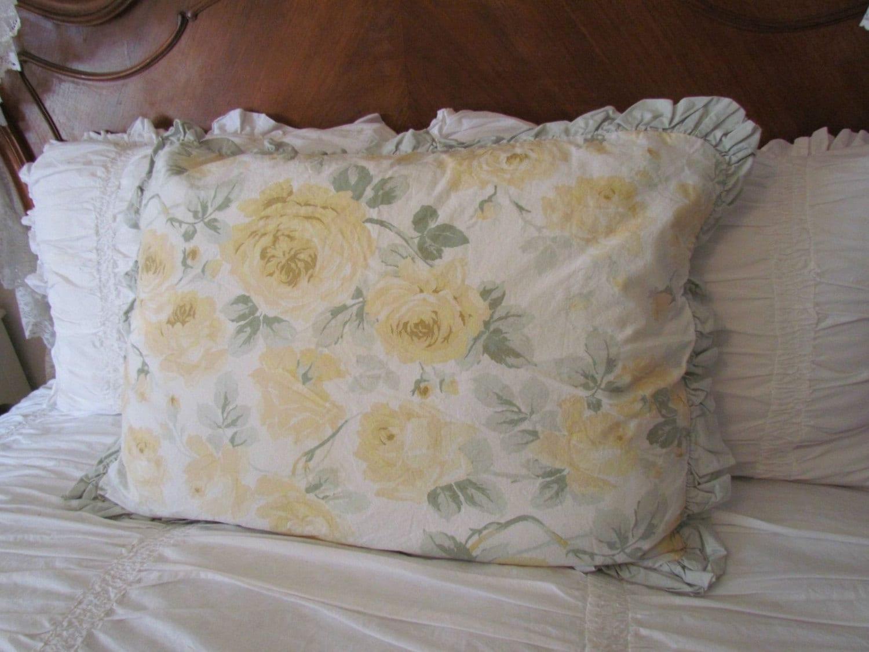 Shabby Chic Floris Yellow Rose Ruffled Pillow Sham Retired