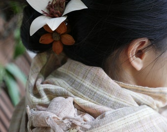 Spring cotton handwoven natural dyed scarf #4