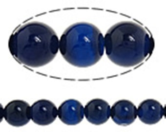 15 inch Natural Blue Agate Gemstone Beads  10mm(33 beads)-7204D