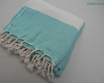 Turquoise green shade diamond patterned Turkish peshtemal super soft cotton bath towel, beach towel, spa towel, baby blanket, throw.