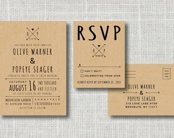 Rustic Wedding Invitation & RSVP Postcard - Wood Background Woodland Wedding - Printable DIY