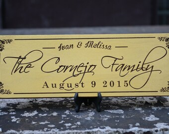 Personalized Family Name Sign Plaque Custom Made 8x22 engraved Family sign, wedding or anniversary gift 024