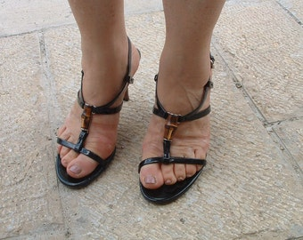 GUCCI brand made in Italy pre owned size 37 excellent  leather sandals circa 1990's