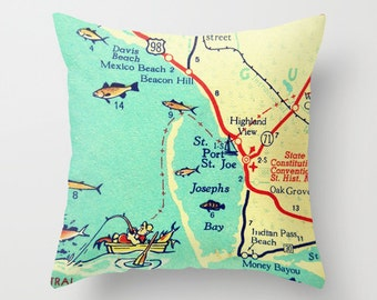 Throw Pillow, Florida Map Pillow, Port St Joe, Mexico Beach House Pillow, Decorative Throw Pillow Cover, Decorative Pillow, Hostess Gift