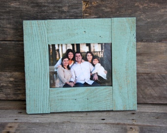 5x7 Wood Picture Frame - Farmhouse Style - Holds a 5x7 Photo - Beach Teal