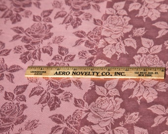 "2 1/2 Yards of 59"" Vintage Brocade Jacquard Woven Fabric. Pinkish Rose Tone with a Beautiful Floral Design. Satin Highlights. Item 3633F"