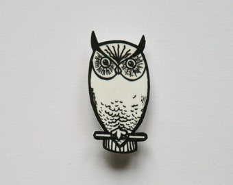 White plastic owl brooch