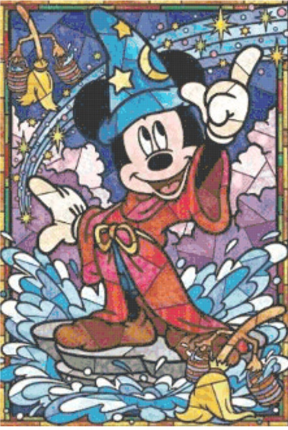 Items Similar To Disney Mickey Sorcerer Stained Glass