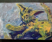 "clearance sale 4""x6"" ATTACK KITTEN original brut modern baby cat cute funny feline kitty kitteh play plays playing aqua yellow oswoa ooak"