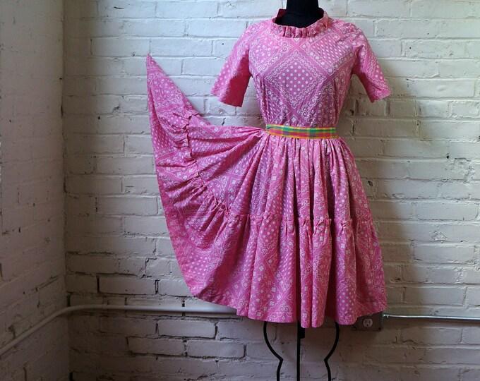 Pink Bandana Dress 1960s Vintage 50s Silhouette Cotton Party Dress MEDIUM Country Western Short Sleeve Ruffled Full Circle Prairie Skirt