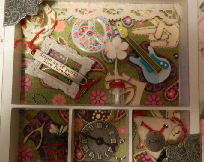 Shadow box with time, music, and peace
