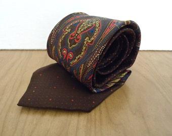 Vintage Brown Silk Foulard Tie / men's Guiseppe D'Onofrio ornate paisley bandana pattern necktie