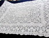 """Vintage Ivory Cotton Lace Tablecloth 56""""w  x 73""""l"""