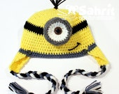 PATTERN Instant Download Minion Yellow Monster Crochet Hat Beanie