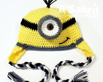 PATTERN Instant Download Minion Yellow Monster Newborn to Adult Crochet Hat Beanie