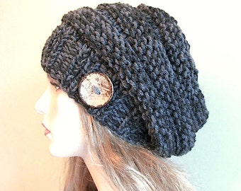PDF Knitting Pattern Instant Download Chunky Slouchy Beanies Berets Beehive Hats Womens Girls