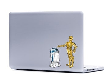 Star Wars R2-D2 C3PO Pair Vinyl Laptop or Automotive Art FREE SHIPPING, netbook art notebook sticker droid robot sticker scifi laptop art