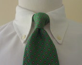 Vintage POLO by Ralph Lauren 100% Silk Green Multicolored Geometric Medallion Trad / Ivy League Neck Tie.  Made by Hand in USA.