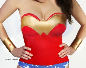Wonder Woman bustier corset. Handmade in USA