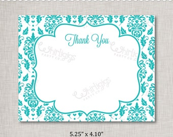 Turqouise Thank You Note INSTANT DOWNLOAD d.i.y. Printable PDF