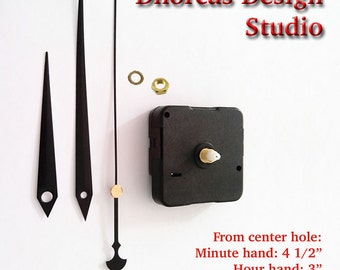 "Quartz Clock Motor (#06) kit for wall clock replacement, movement and black 4.5""  hands, choose from regular to long shaft and hanger"
