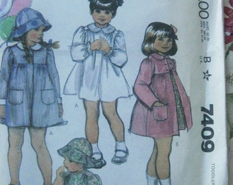 McCalls 7409 Toddler Size 2 Dress Coat Pattern UNCUT