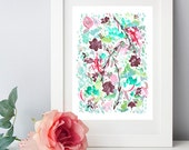 """Abstract Maroon Floral Pattern - 8""""x10"""" Watercolor Fine Art Print"""