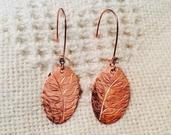 Hand Engraved Copper Earrings