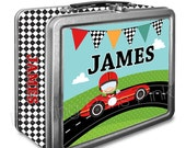 Race Car Classic Tin Lunch Box with or without Side Wrap | Back To School | Personalized | Image on Both Sides | Keepsake Box