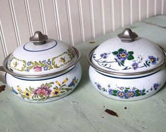 Vintage German Asta Floral Enamel Cookware Pot Pots