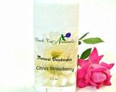 Citrus Strawberry Deodorant Natural- Organic Deodorant Stick with Tea Tree Oil and Organic Coconut Oil - Homemade Deodorant Tube