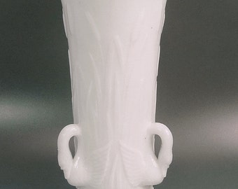 Vintage Westmoreland Glass Swan Milk Glass Vase