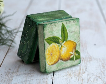 Small Jewelry Box, Yellow Green Box, Green Wood Box, Small Treasure Box, Lemon Gift Idea, Lemon Box