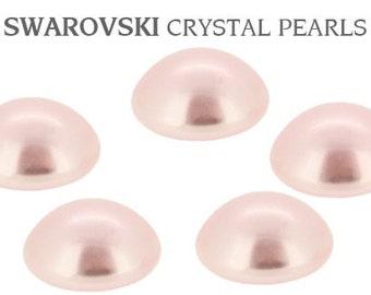 Blush Pink Pearl pierced earring stud 7mm w/ Swarovski Rosaline Rose Petal Bridal Silver tone or Hypoallergenic Titanium Post Jewel
