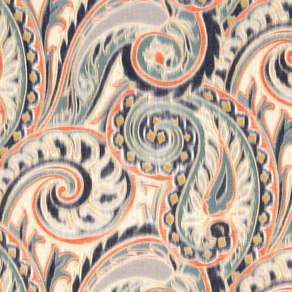 Navy orange linen paisley fabric contemporary paisley for Modern home decor fabric