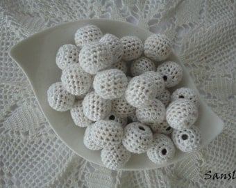 12 pcs-13 mm beads-crocheted bead-of white beads-round beads-crochet ball beads-beads crochet-embellishment-wooden crochet cotton yarn beads