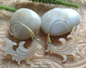 """Tribal Hanging Earrings, """"White Surf"""" Natural, Mother of Pearl, Brass Hooks, Sterling Posts, Hand Carved"""