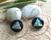 """Bohemian/Tribal Earrings, """"Imogen"""" Handcrafted, Paua Shell, Brass & Sterling, Boho-Chick"""