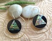 "Bohemian/Tribal Earrings, ""Astrid"" Handcrafted, Paua Shell, Brass & Sterling, Boho-Chick"