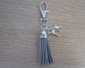 Dog Collar Tassel - Gray - Keychain - Greyhound Whippet Tassel Keychain