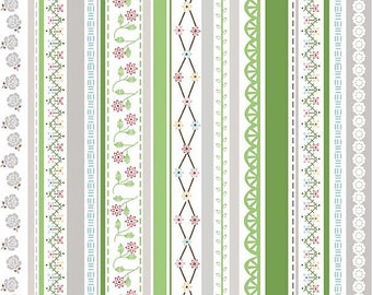 "Riley Blake Designs ""Polka Dot Stitches"" by Lori Holt - Green Stripe - 1/2 yard"