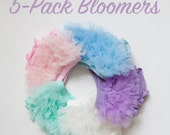 5 pack newborn toddler Ruffle Bloomers diaper cover set - ivory, mint, pink, lavender, baby blue