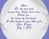 Mother of the  Bride  Wedding Handkerchief Heirloom Embroidered, Personalized Hanky, Gift, Handkerchief