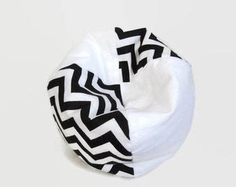 Doll Furniture - Black and White Chevron Bean Bag Chair - Fits Popular Dolls Such as American Girl and Hearts4Hearts